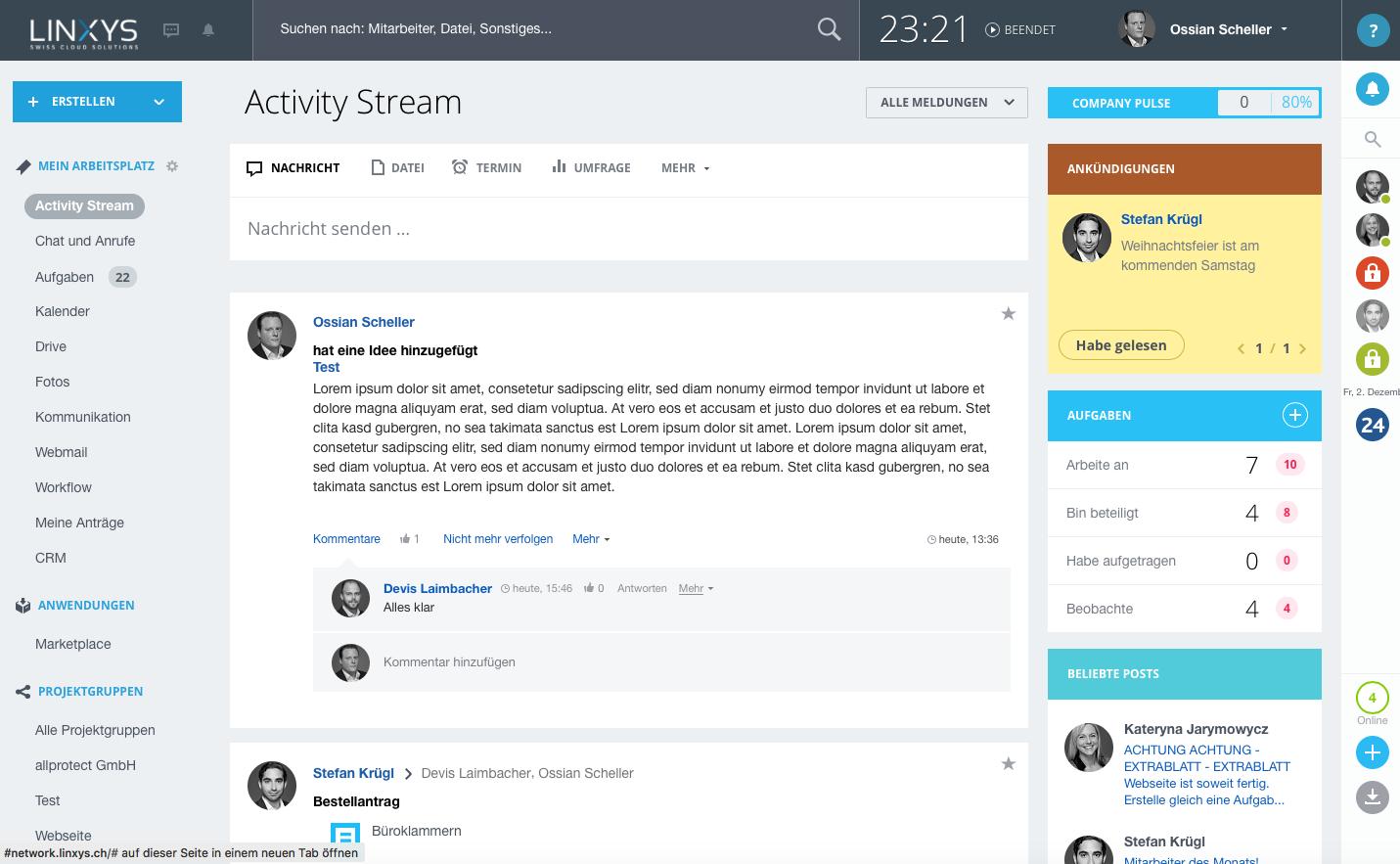 LINXYS Social Intranet Activity Stream