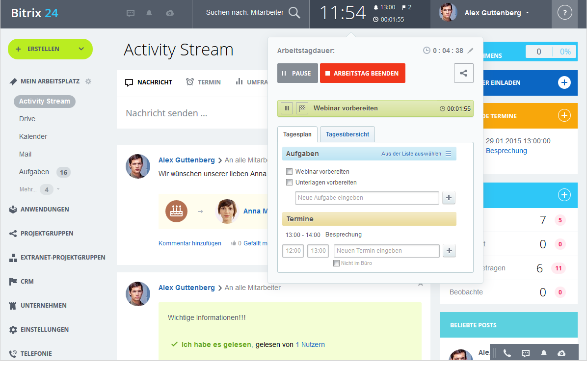 LINXYS Social Intranet HR Arbeitszeitmanagement Bitrix24