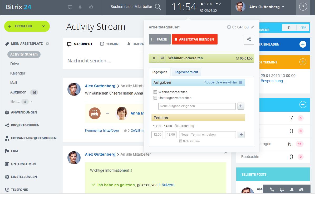 LINXYS Social Intranet HR Arbeitszeitmanagement Bitrix24
