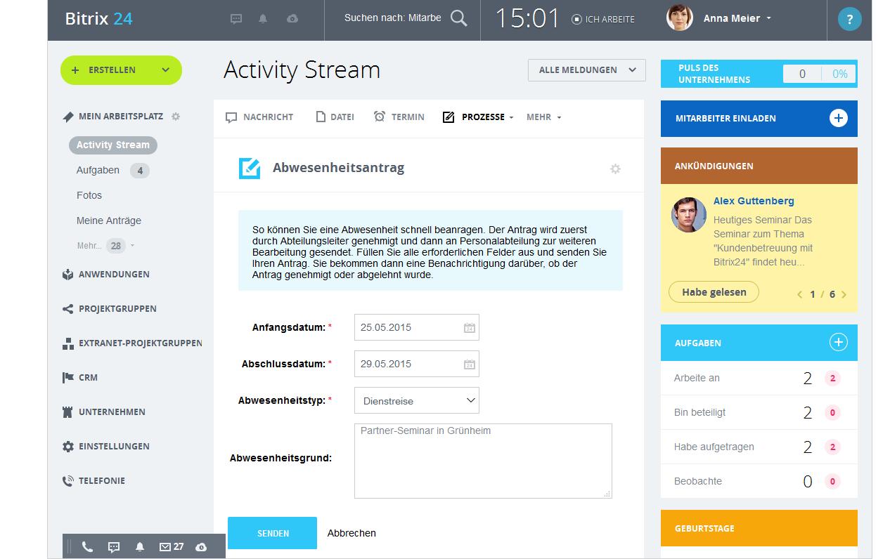 LINXYS Social Intranet HR Automatisierte Workflows Bitrix24