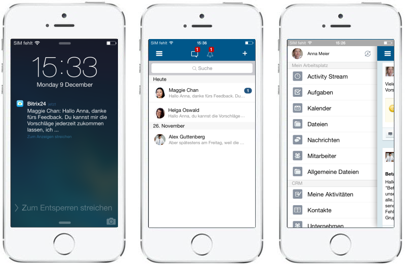LINXYS Social Intranet Mobile Echtzeitkommunikation Bitrix24